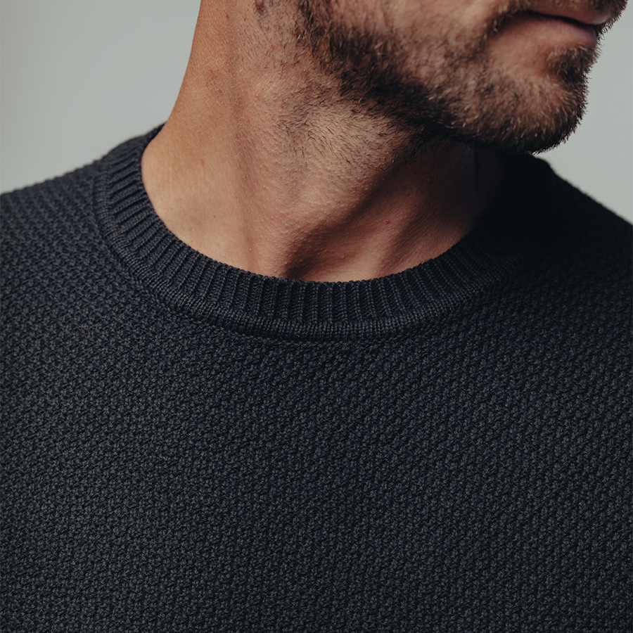 Rib Shaker Sweater-Navy