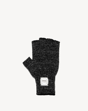 Black Melange Fingerless Ragg Wool Gloves