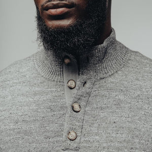 Roll Hem Button Pullover-Grey
