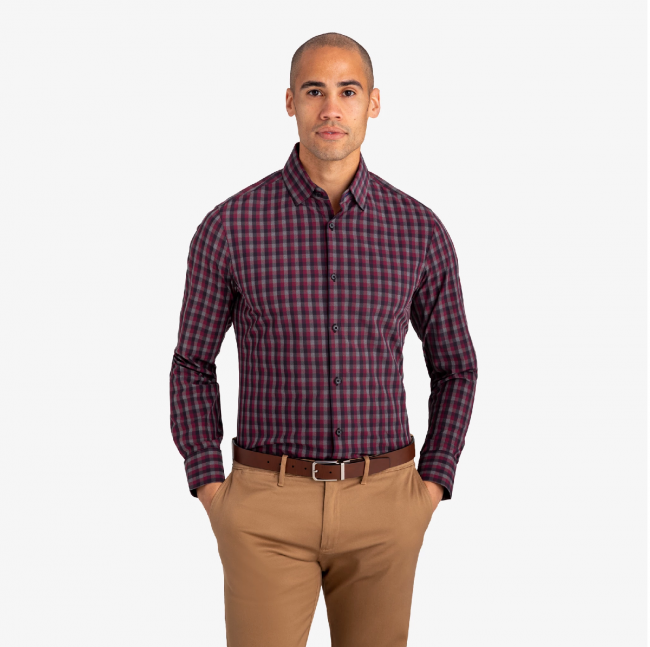Plainview Burgundy Leeward Shirt-Trim Fit