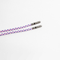 Pink Blue and White Braided Shoelaces