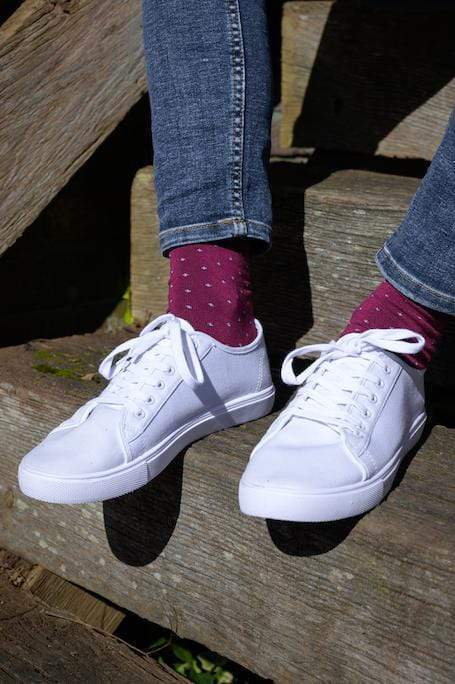 Spotted Burgundy Bamboo Socks