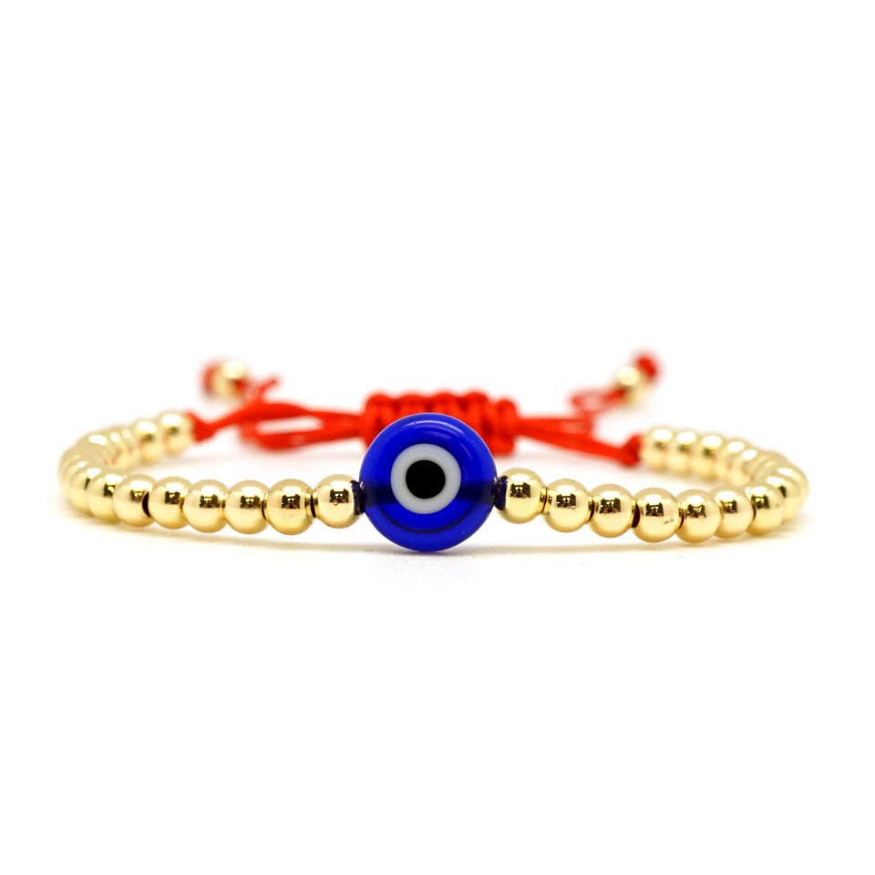 Round Blue Evil Eye Beaded