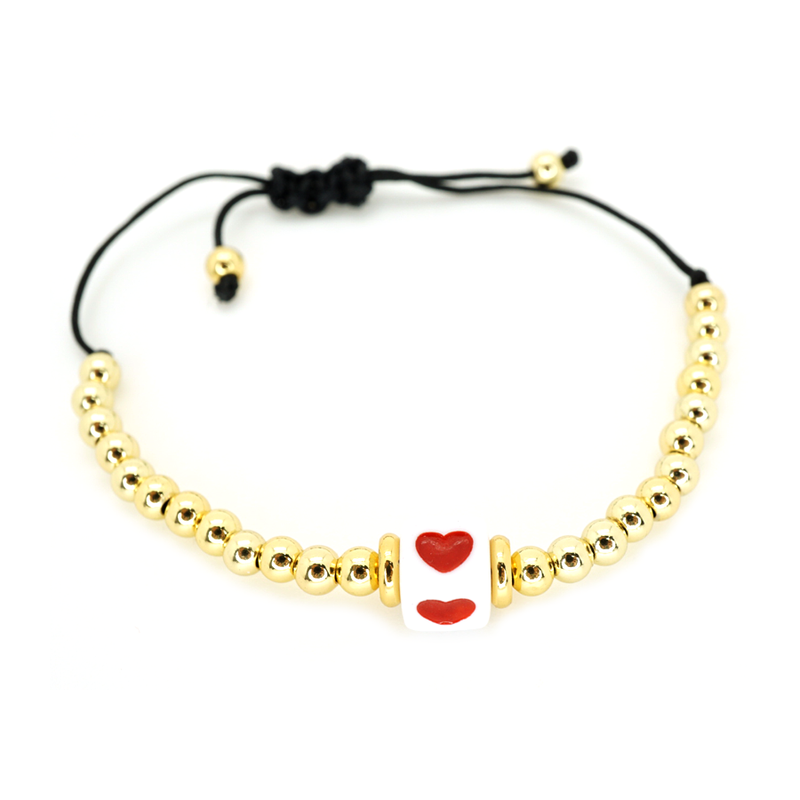 Gold Beaded Red Heart