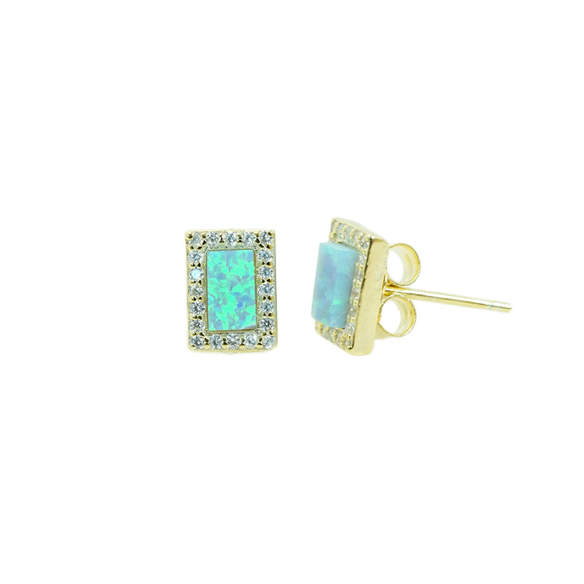 CZ LIGHT BLUE OPAL RECTANGLE