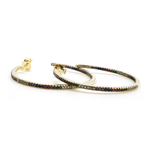Multicolor Stone Hoops Small