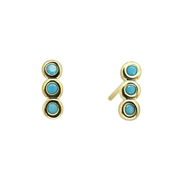 Triple CZ Turquoise Studs