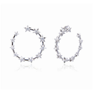 Multi Stars Circle Earrings