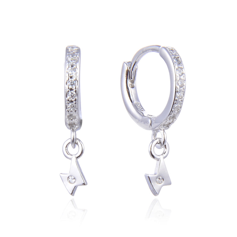 CZ Mini lighting bolt Hoops