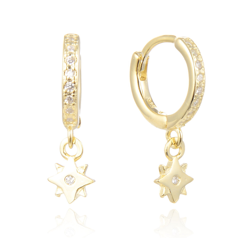 CZ Double Star Hoops