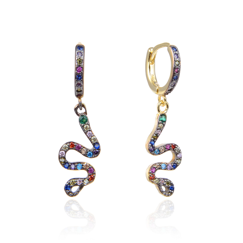 CZ hoop Snake earrings