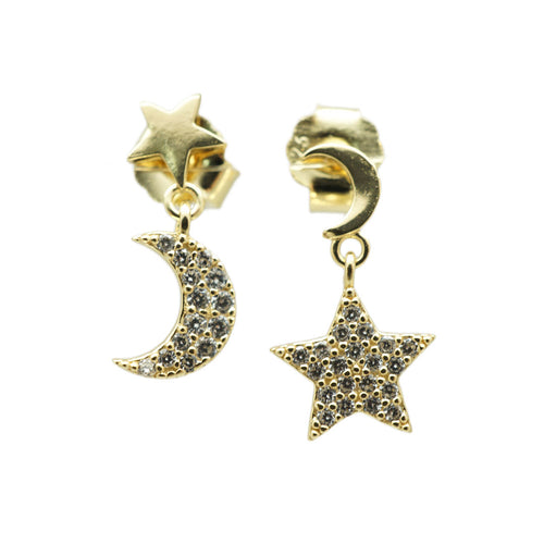 Half Moon and Star Studs