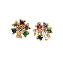 Load image into Gallery viewer, Multicolor CZ Stud Flowers