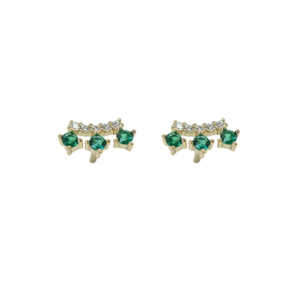 TIARA GREEN AND CLEAR CZ STUDS