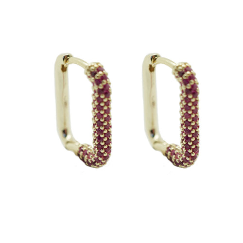 Rectangle CZ Hoops