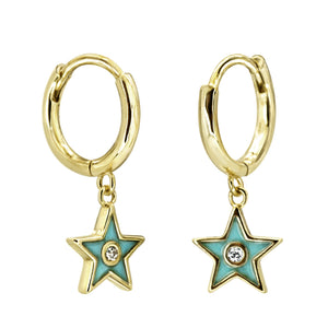 Plain Hoop With Colored Enamel Star and CZ