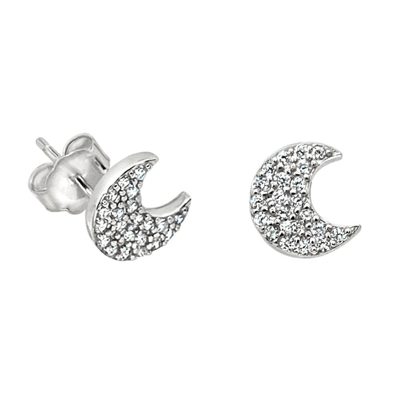 Thick CZ Moon Earrings