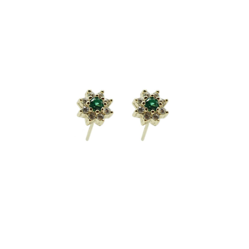 Mini Flower CZ With Colored Gem
