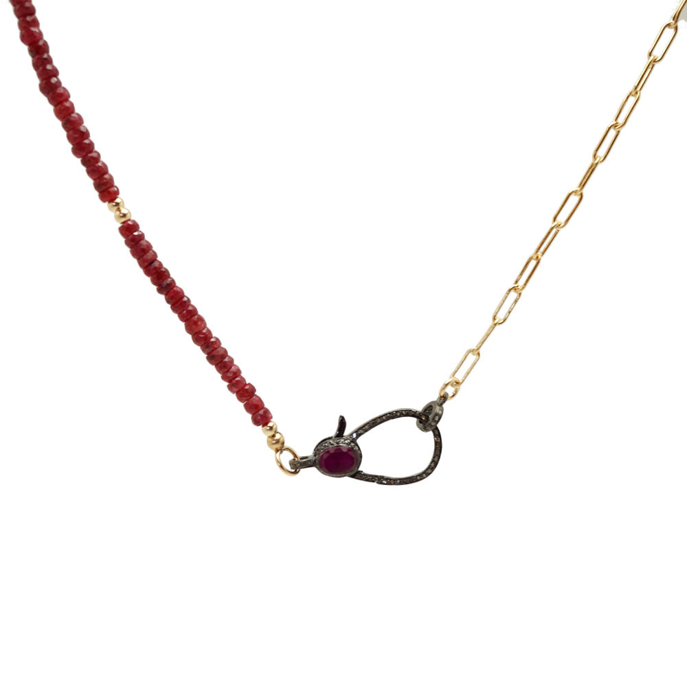 Ruby Diamond Lobster Clasp