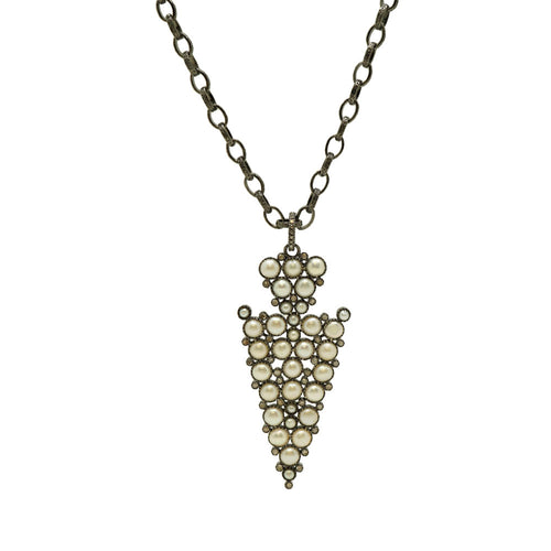 Pave Diamond Pearl Arrow