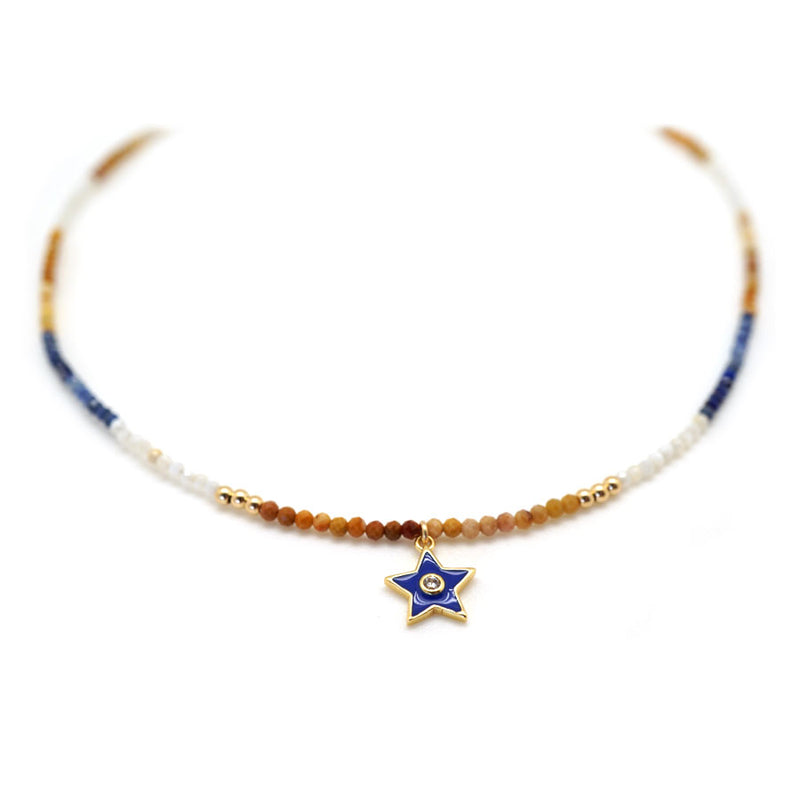 Gold Blue Star Choker
