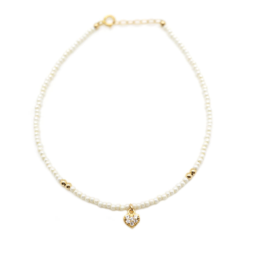 CZ Heart Pearl Anklet