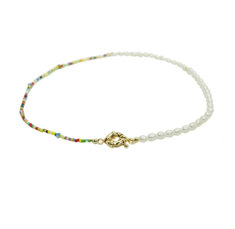 Gold Clasp Pearl Choker