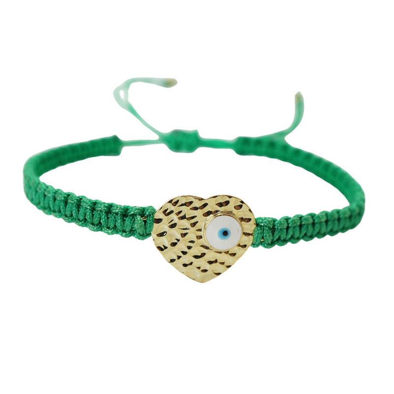 Heart Evil Eye String Bracelet