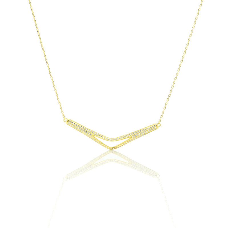 Open CZ Long Triangle Necklace