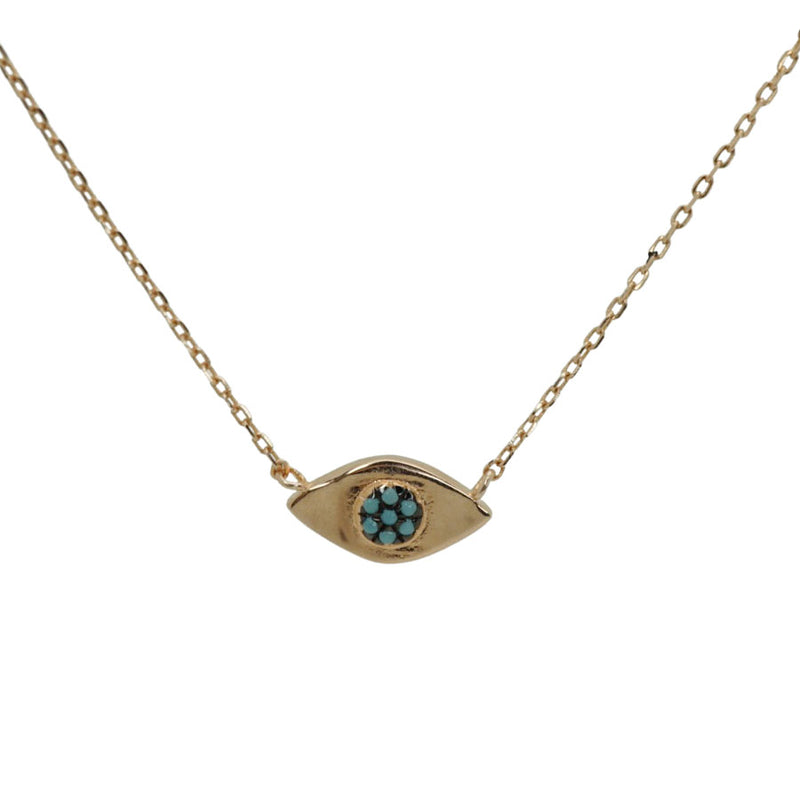 Oval Turquoise Evil Eye Necklace