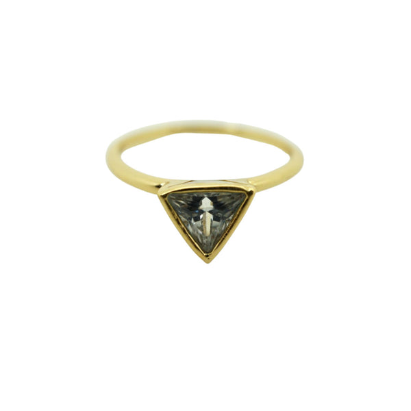 Pinky Triangle CZ Ring