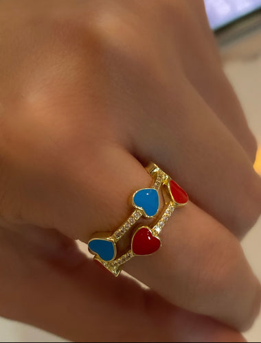 Triple Enamel Heart CZ Ring