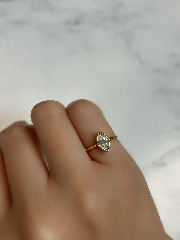 Pinky Oval cz Ring