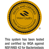 This system has been tested and certified by WQA against NSF/ANSI 42 for Bacteriostasis