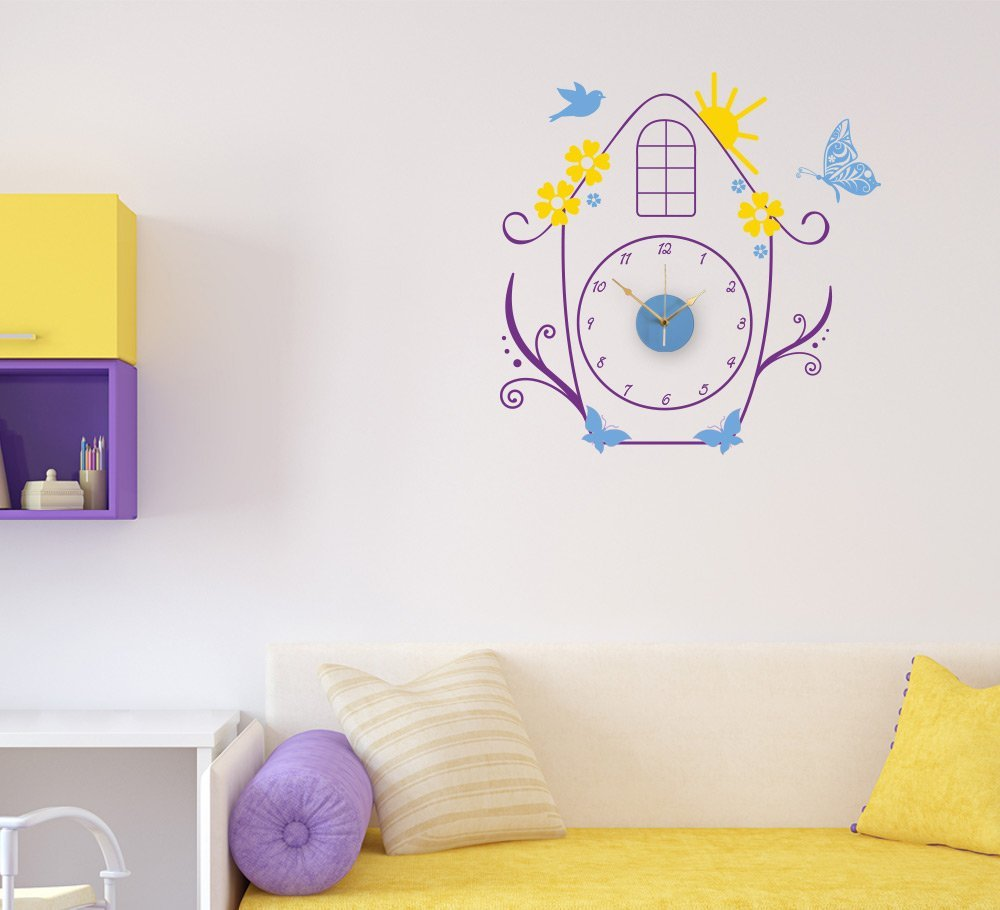 Cute Birdhouse Wall Clock Sticker with sweep motion