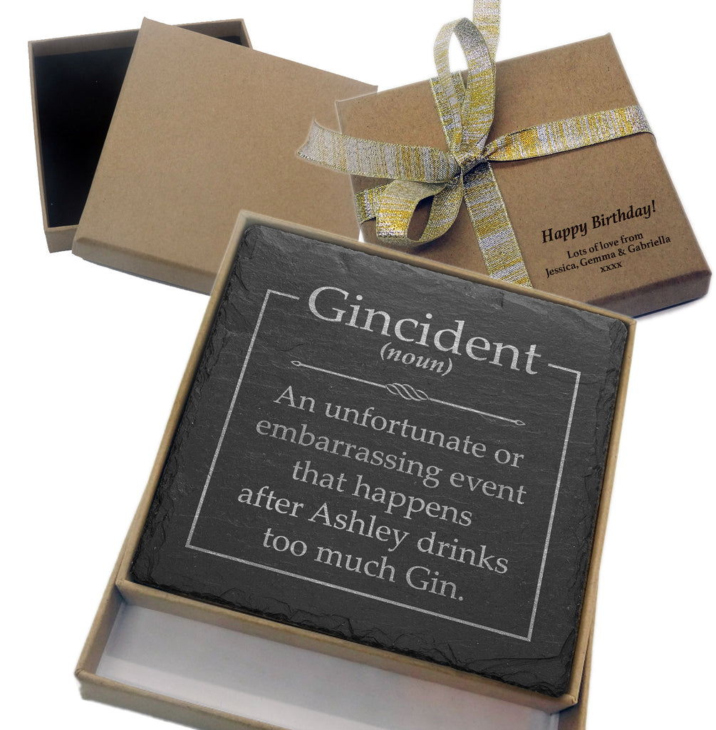 Gincident Engraved Slate Coaster - Personalised with any name