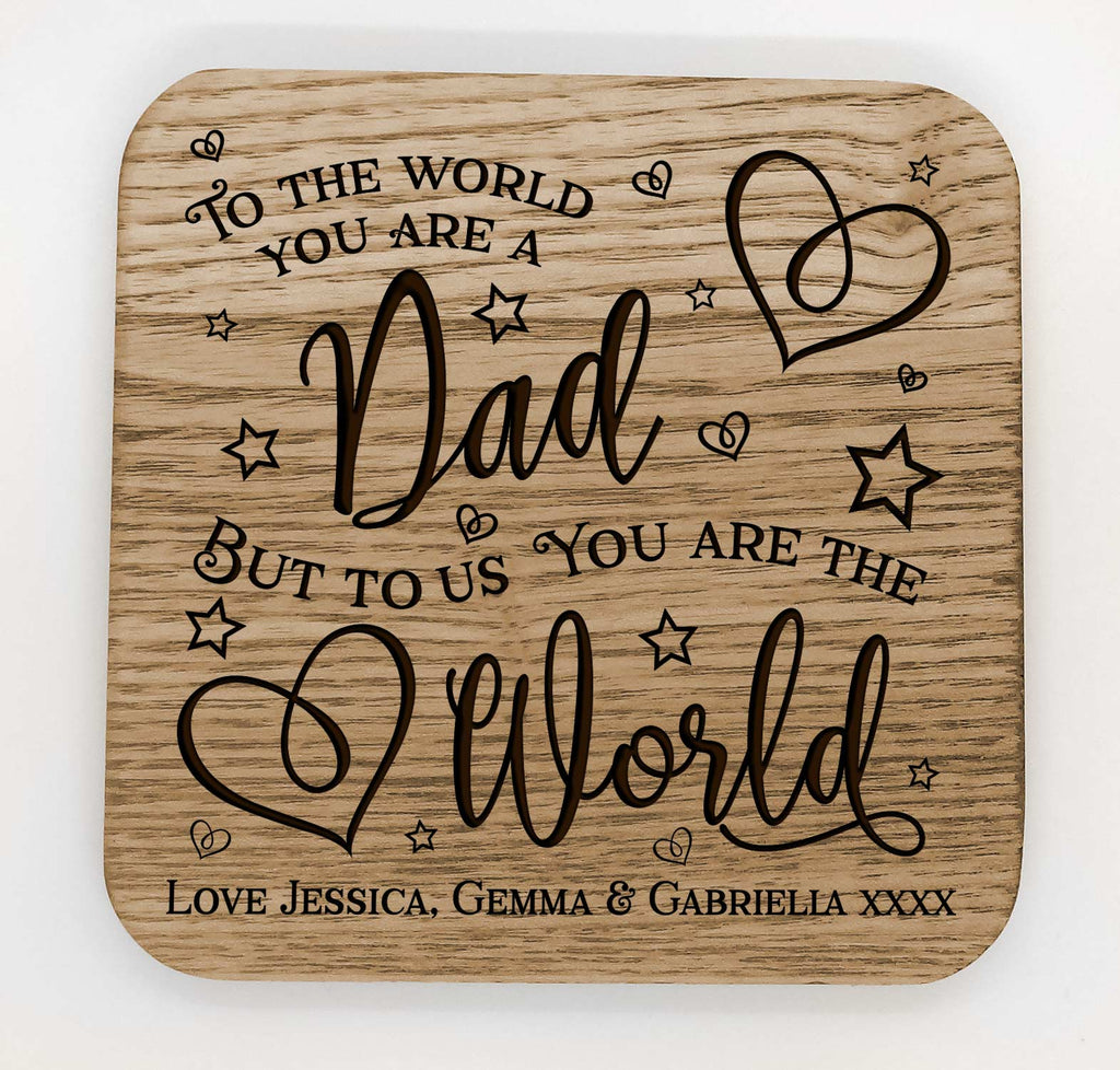 Personalised Fathers Day Gift Wooden Coaster