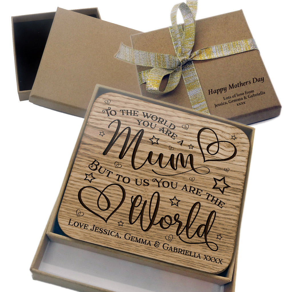 Personalised Mothers Day Gift Wooden Coaster