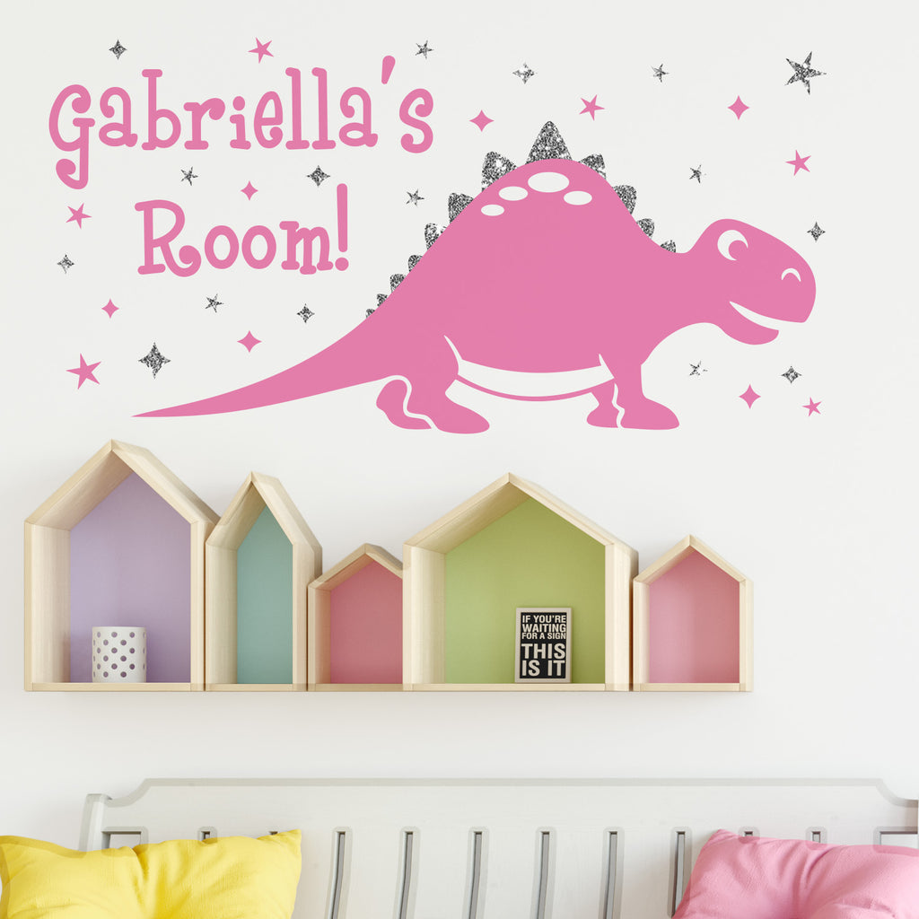 Personalised Dinosaur Sparkly Wall Sticker