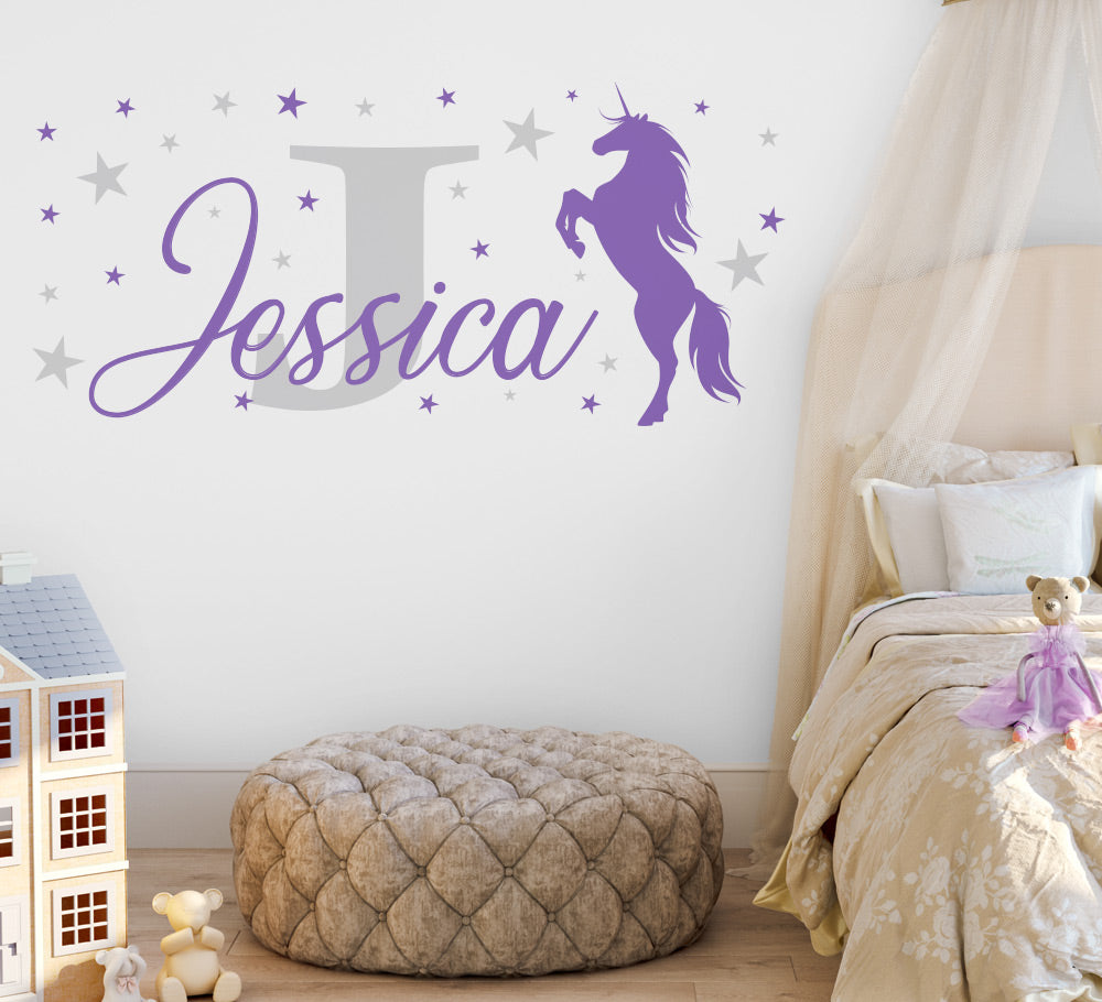 Personalised Unicorn Monogram Wall Sticker
