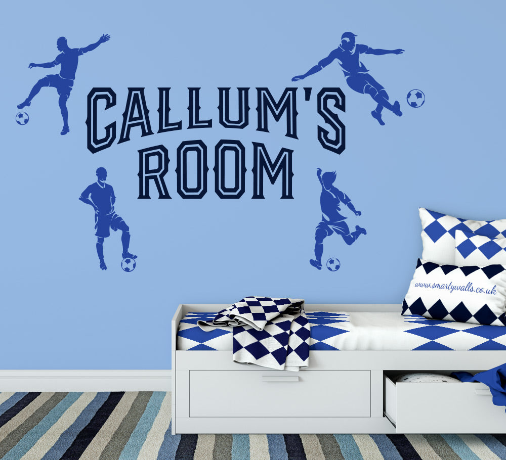 personalised football wall sticker, custom football decals for bedrooms