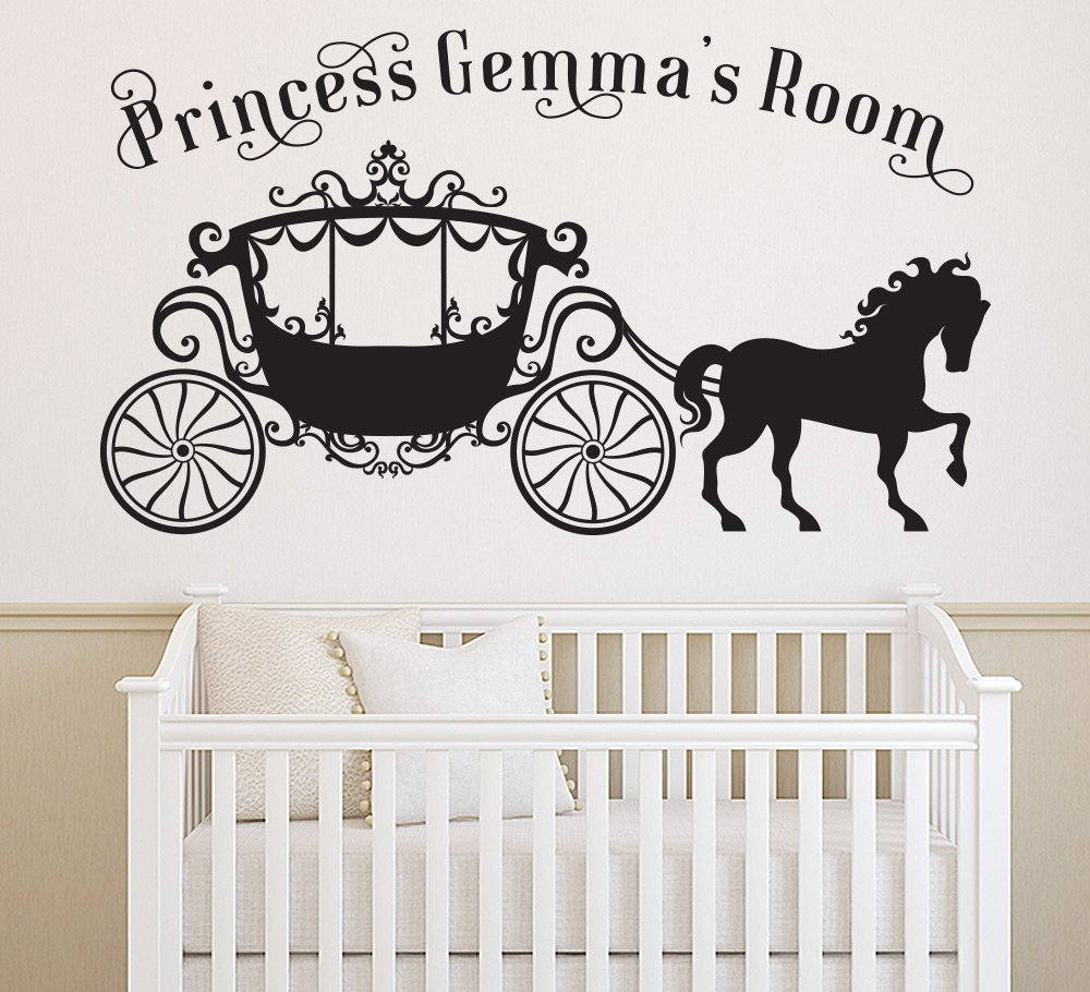Princess Horse and Carriage Wall Sticker Personalised