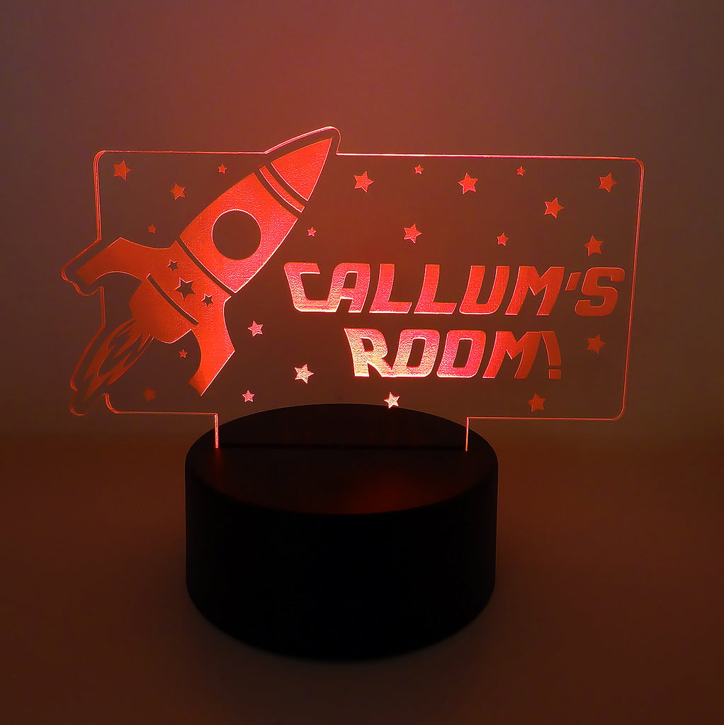Personalised Space Rocket LED Night Light