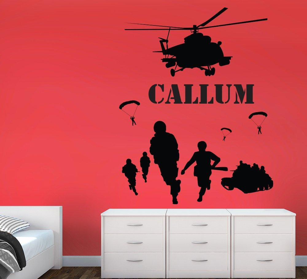 Army Men Helicopter Scene Wall Sticker