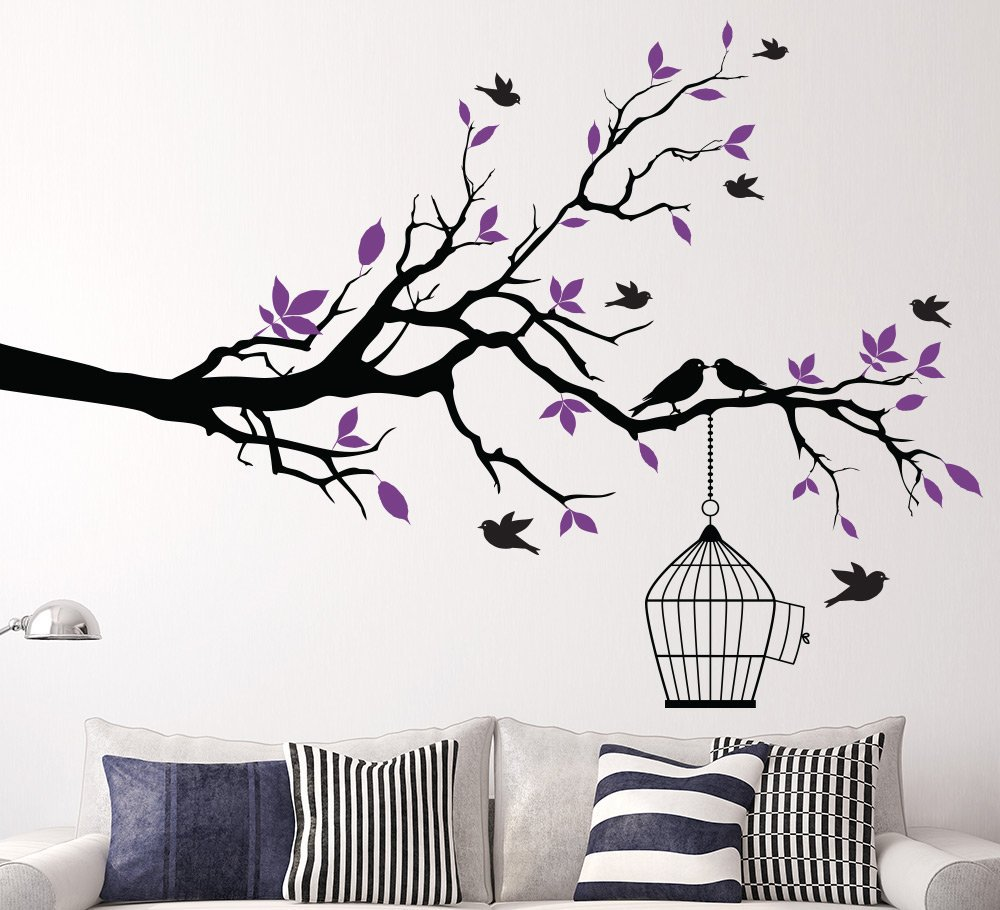 Tree Branch With Bird Cage Wall Art Sticker Smarty Walls
