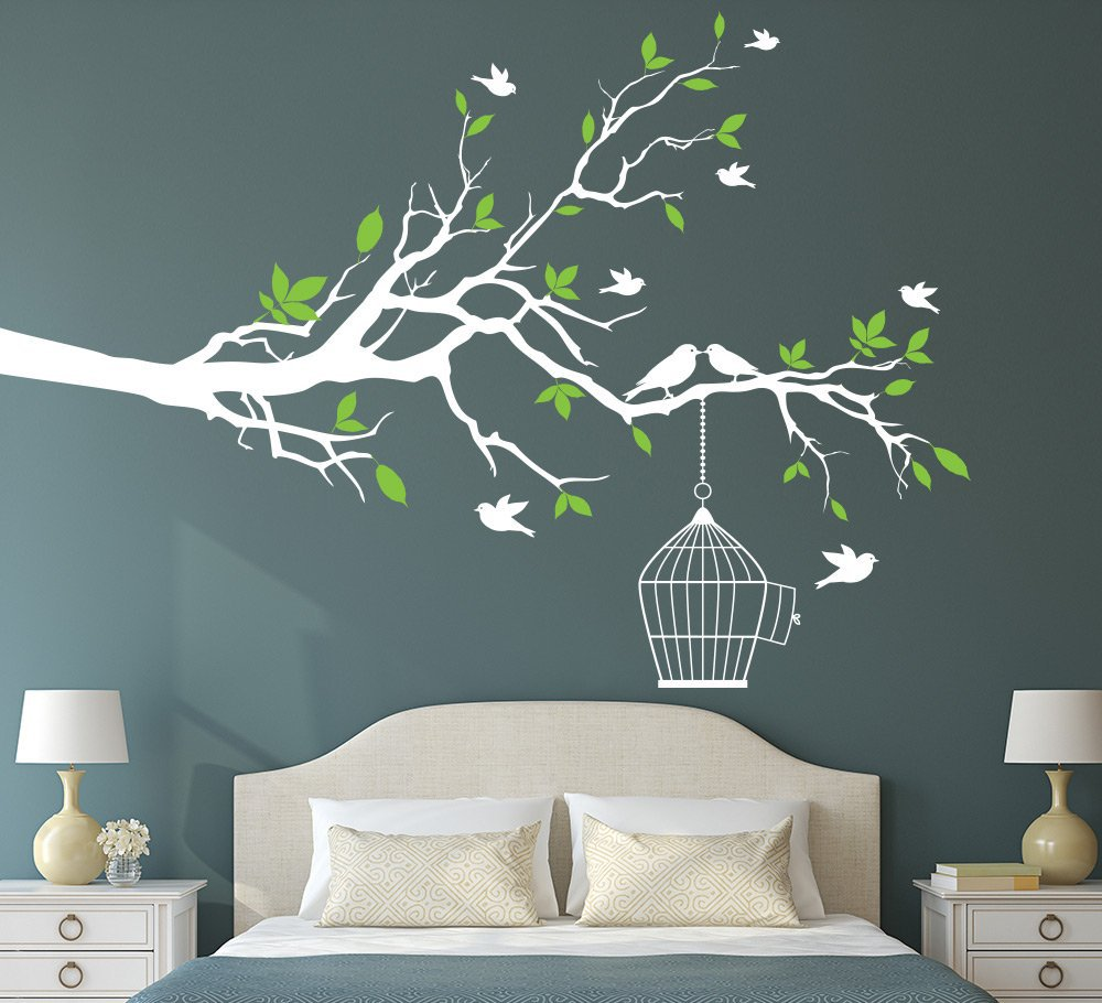Tree Branch with Bird Cage Wall Art Sticker