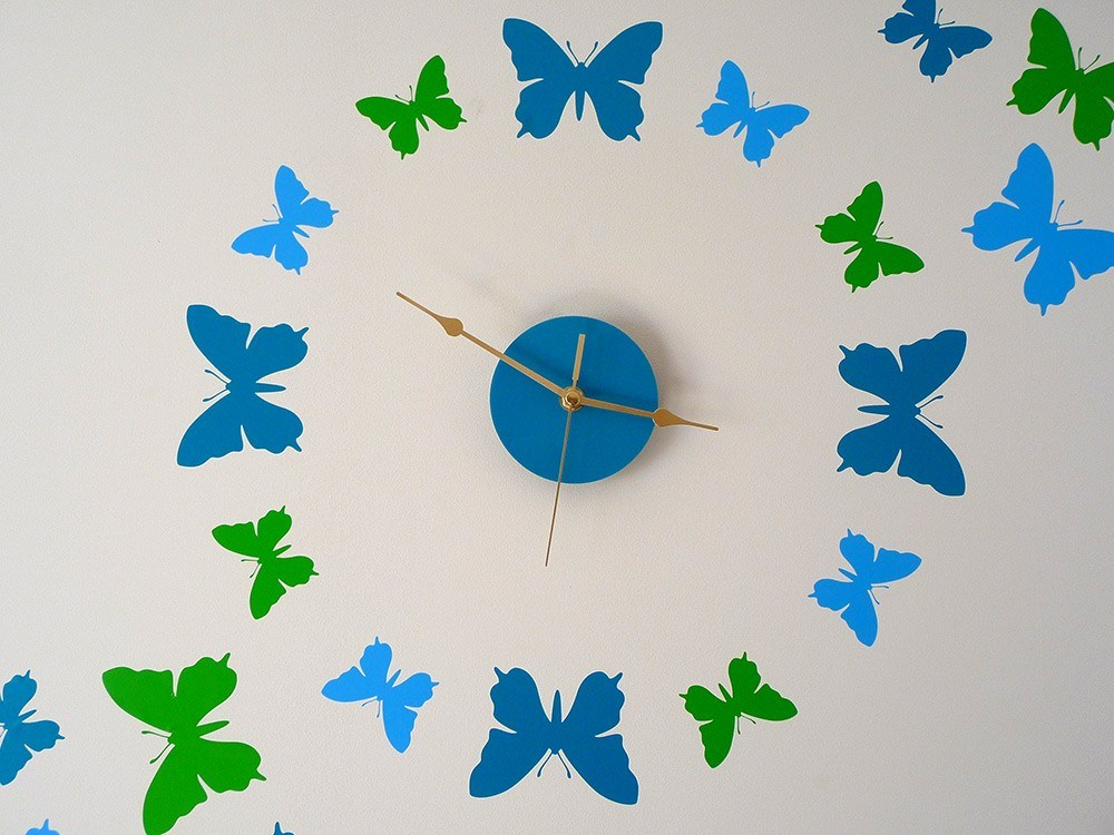Butterfly Wall Clock Sticker with sweep motion