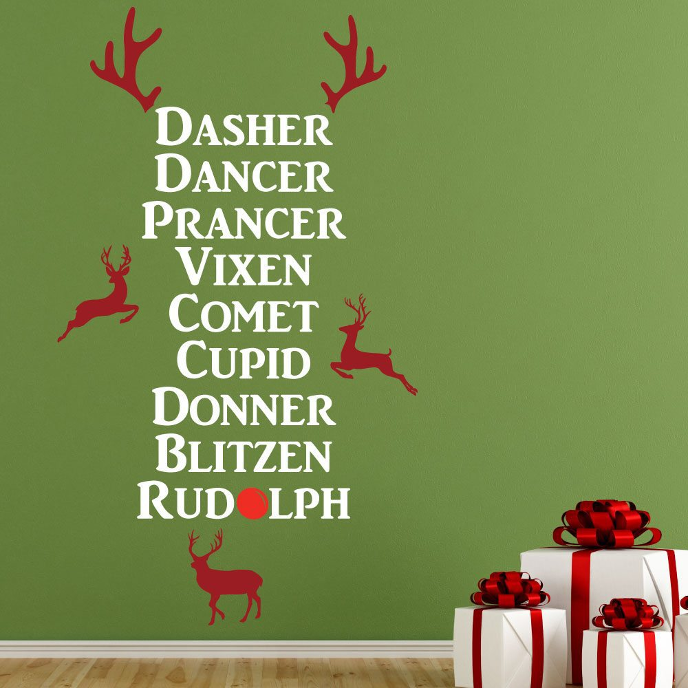 Christmas Reindeer Names Wall Sticker