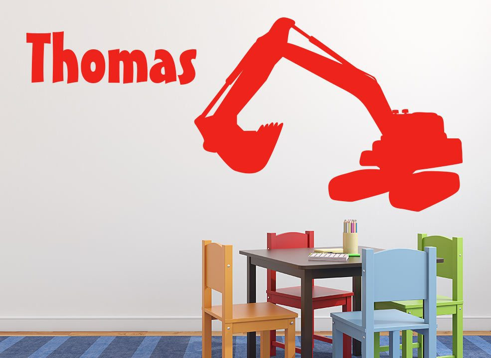 Boys Digger Wall Sticker Personalised