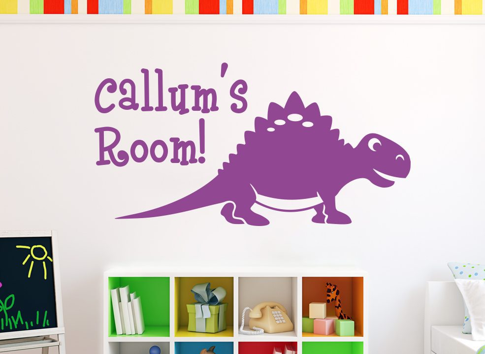 Cute Dinosaur Stegosaurus Wall Sticker Personalised
